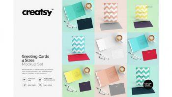 دانلود موکاپ کارت دعوت Greeting Cards 4 Sizes Mockup Set