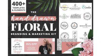 دانلود جعبه ابزار ساخت طرح گل و بوته Hand Drawn Floral Branding Kit