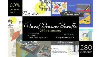 دانلود وکتور پترن با طراحی دستی Hand drawn patterns bundle