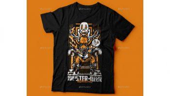 دانلود وکتور تیشرت Hipster-Deer T-Shirt Design