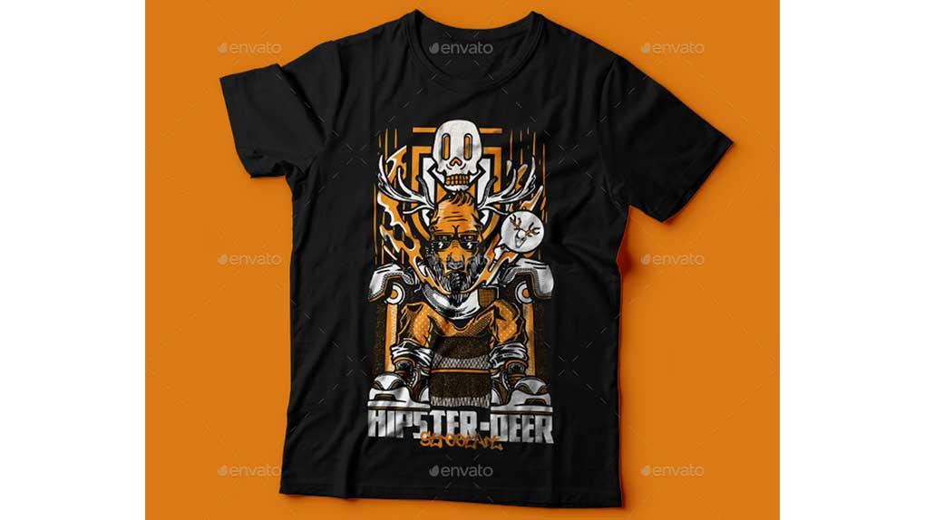وکتور تیشرت Hipster-Deer T-Shirt Design