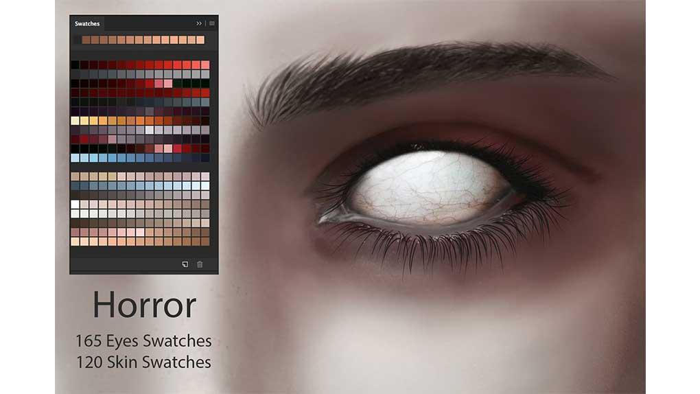 پالت رنگ Horror Eyes & Skin Ps Swatches