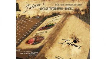 دانلود فایل لایه باز منوی غذا سه لت Infernos Vintage Trifold Menu
