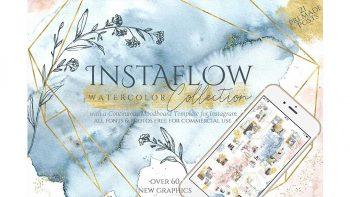 دانلود فایل لایه باز آبرنگی اینستاگرام Instaflow Watercolors & Template