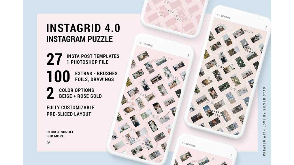 فایل لایه باز پست پازلی اینستاگرام InstaGrid 4.0 – Instagram Puzzle