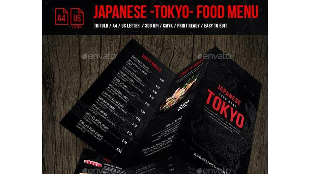 فایل لایه باز سه لت منو غذای ژاپنی