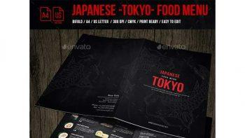 دانلود فایل لایه باز منو غذای ژاپنی دو لت Japanese Bifold A4 & US Letter Menu Design