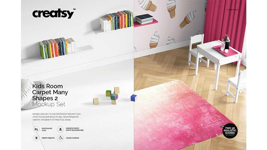 موکاپ قالیچه اتاق کودک