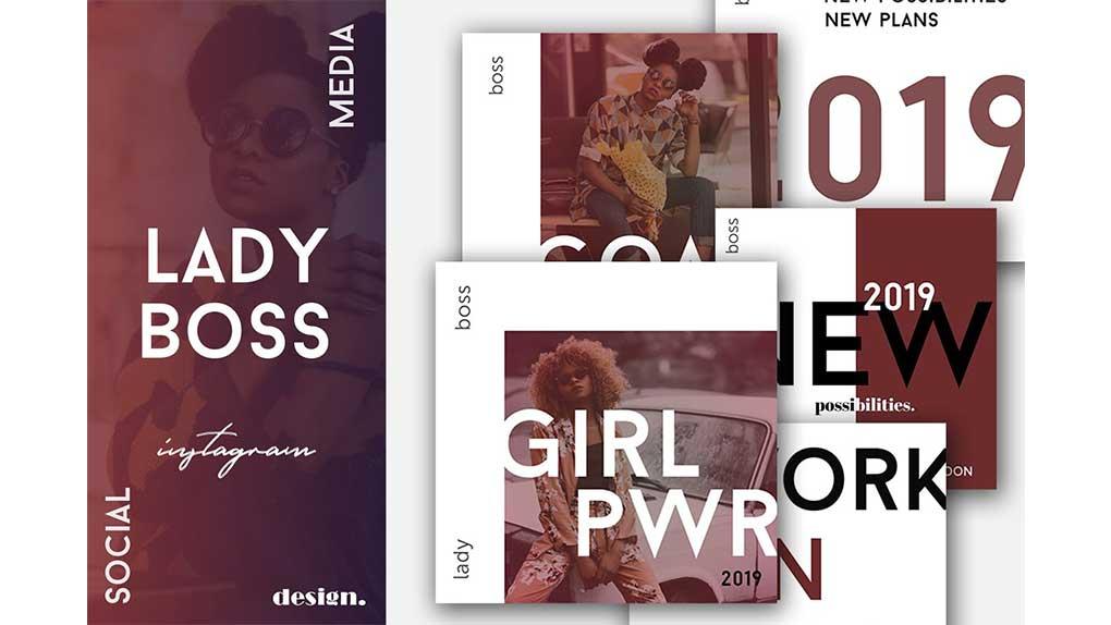 فایل لایه باز شبکه اجتماعی Lady Boss Social Media Pack