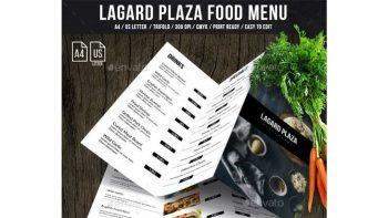 دانلود فایل لایه باز منو غذا سه لت Lagard Plaza Trifold A4 and US Letter Menu