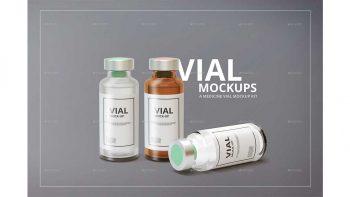 دانلود موکاپ شیشه آمپول Medicine Vial Mockup