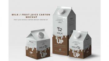 دانلود موکاپ پاکت شیر Milk / Fruit Juice Carton Mockup
