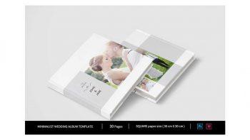 دانلود فایل لایه باز آلبوم عروس مینیمال Minimalist Square Wedding Album