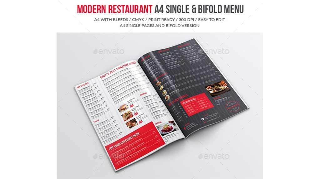 فایل لایه باز منو غذا Modern Restaurant