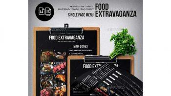 دانلود فایل لایه باز تراکت منو غذا Multipurpose Extravaganza Single Page Menu