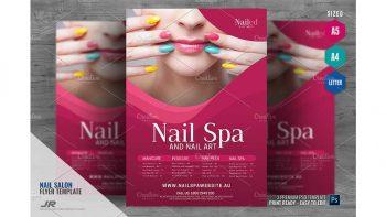 دانلود فایل لایه باز تراکت سالن اسپا و کاشت ناخن Nail Spa and Nail Salon Flyer