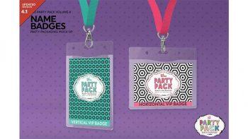 دانلود موکاپ کارت شناسایی Name Badges with Lanyards Mock Up