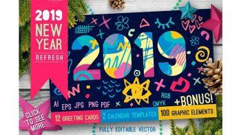 دانلود وکتور سال نو میلادی 2019 New Year Christmas Blue Bundle