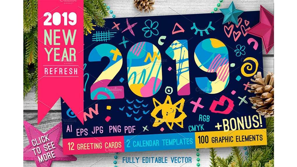 وکتور سال نو میلادی 2019 New Year Christmas Blue Bundle