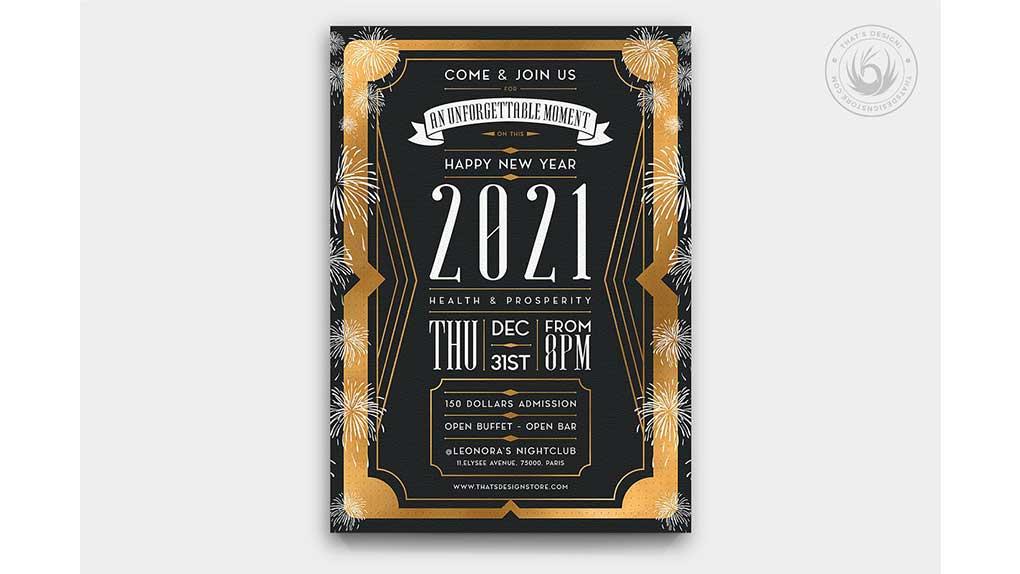 فایل لایه باز بنر سال نو میلادی New Year Flyer Template V8