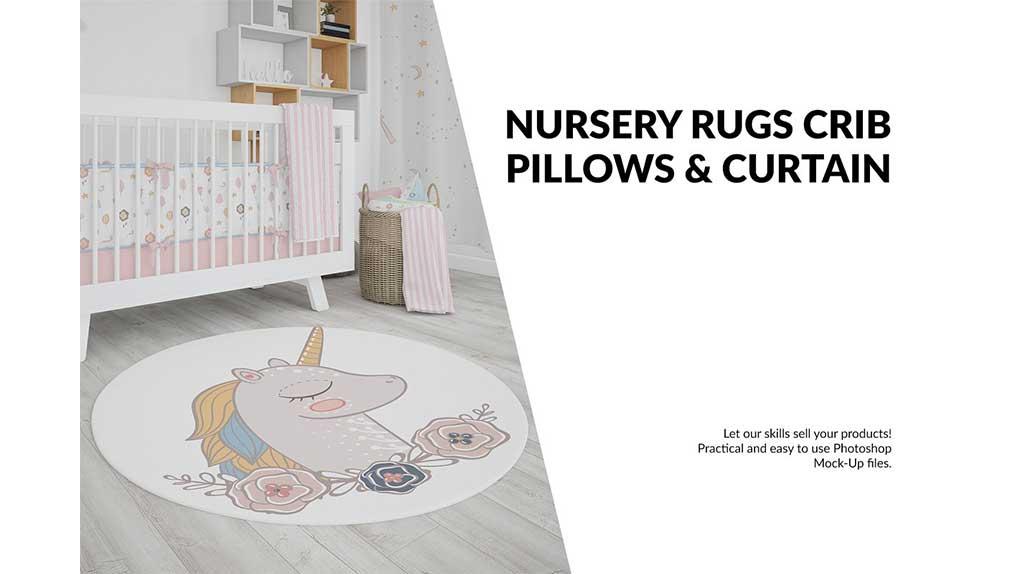 موکاپ پرده و قالیچه اتاق کودک