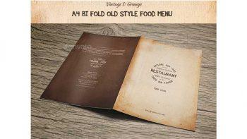 دانلود فایل لایه باز دو لت منوی غذا با طرح قدیمی Old Style A4 Bifold Food Menu