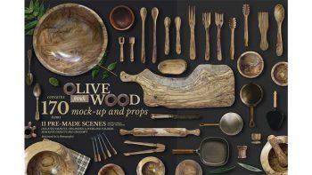 دانلود جعبه ابزار ساخت موکاپ ظرف چوبی Olive Wood Mock-Up Scene Generator
