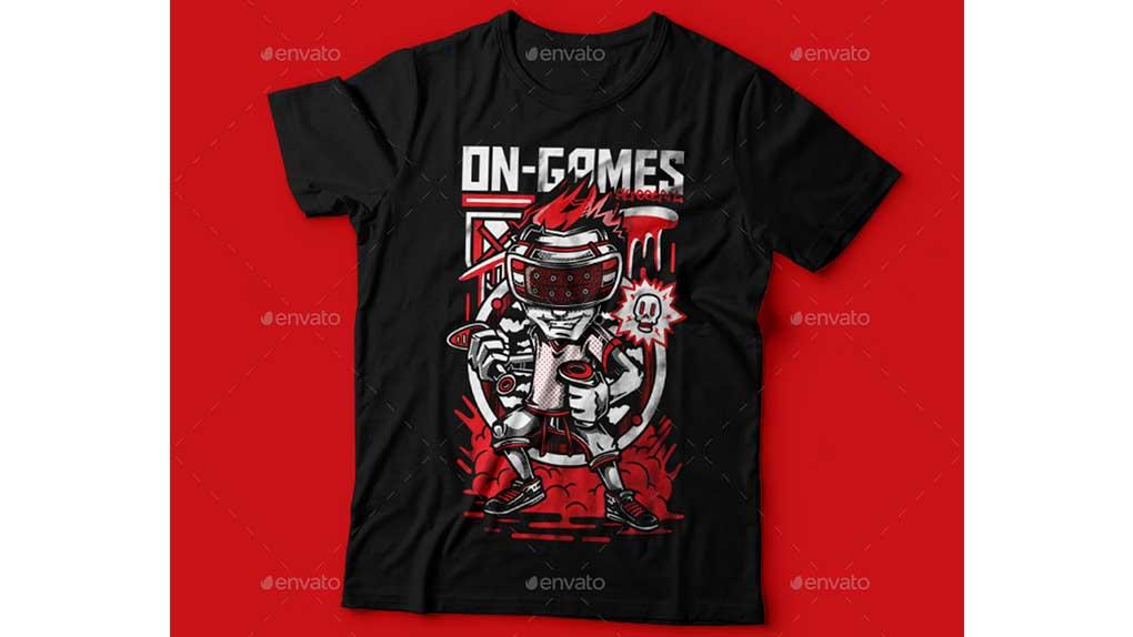 وکتور تیشرت On-Games T-Shirt Design