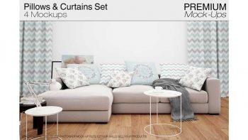 دانلود موکاپ ست کوسن و پرده Pillows & Curtains Set 2