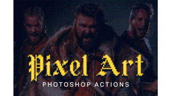 دانلود اکشن تبدیل عکس با افکت پیکسلی Pixel Art Photoshop Actions