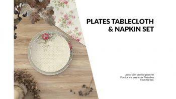 دانلود موکاپ ست رومیزی و دستمال سفره Plates, Tablecloth & Napkin Set