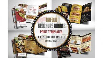 دانلود فایل لایه باز سه لت منو رستوران Restaurant Menu Trifold Bundle