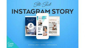 دانلود فایل لایه باز استوری اینستاگرام SET SAIL Instagram Story Templates