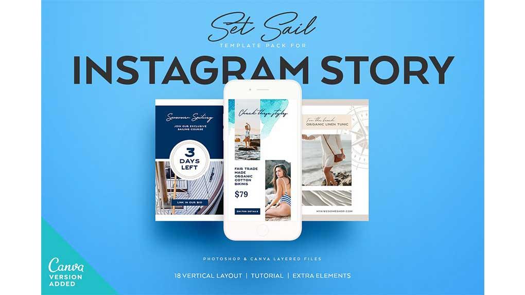 فایل لایه باز استوری اینستاگرام SET SAIL Instagram Story Templates