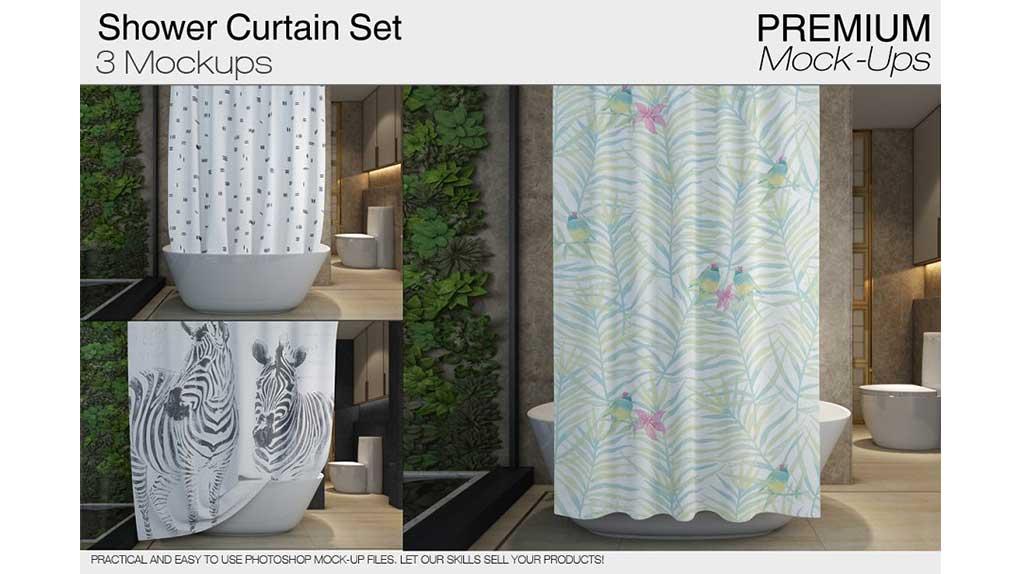 موکاپ پرده حمام Shower Curtain Mockups