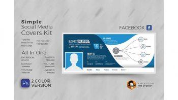 دانلود فایل لایه باز کاور شبکه اجتماعی Simple Social Media Covers Kit