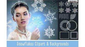 دانلود بک گراند و کلیپ آرت دانه برف SNOWFLAKES Clipart + Backgrounds