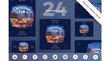 دانلود فایل لایه باز شبکه اجتماعی Social Media Pack | Christmas Fair