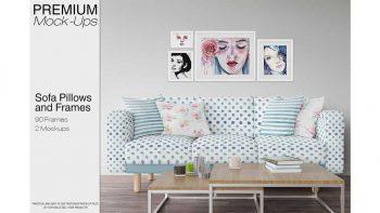 دانلود موکاپ مبل و کوسن Sofa, Pillows & Frames Mockup Pack