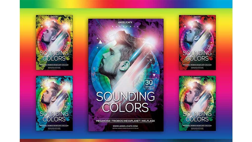 فایل لایه باز پوستر Sounding Colors