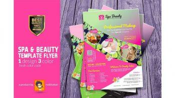 دانلود وکتور تراکت اسپا و سالن زیبایی Spa Flyer Beauty Flyer