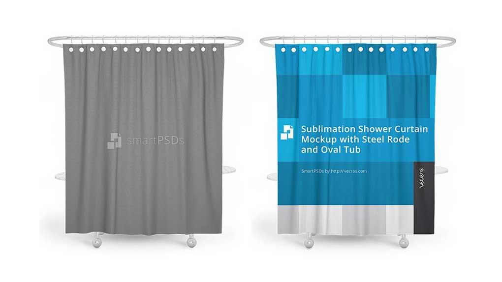 موکاپ پرده حمام Sublimation Shower Curtain Mockup 2