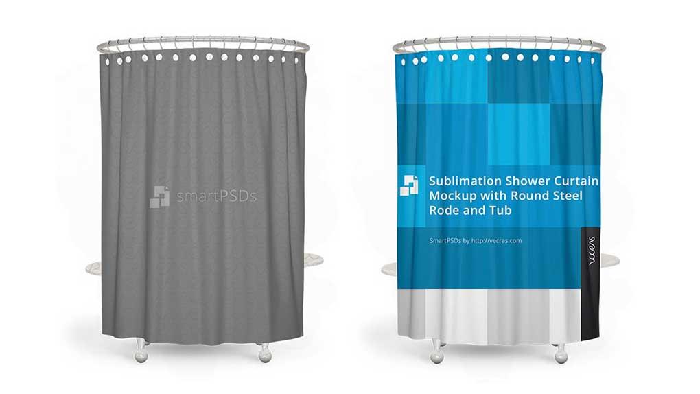 موکاپ پرده حمام Sublimation Shower Curtain Mockup 3