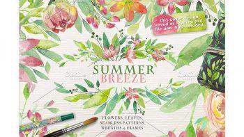 دانلود وکتور گل و گیاه تابستانی SUMMER BREEZE vol.2