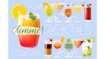 دانلود وکتور کوکتل تابستانی Summer cocktails