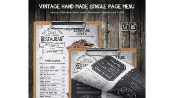 دانلود فایل لایه باز تراکت منوی غذا Vintage Hand Made Single Page Food Menu