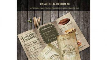 دانلود فایل لایه باز سه لت منو غذا با طرح قدیمی Vintage Old A4 Trifold Menu
