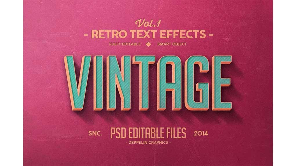 افکت متن Vintage Text Effects Vol.1