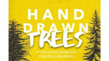 دانلود وکتور درخت Vintage Tree Illustrations