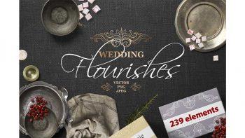 دانلود وکتور گل و بوته تزئینی و دکوراتیو برای کارت عروسی Vintage Wedding Flourishes Bundle